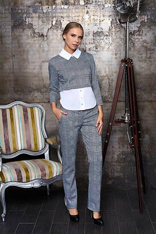 48cf16e1ffc Деловой женский брючный костюм в клетку с оригинальной блузкой
