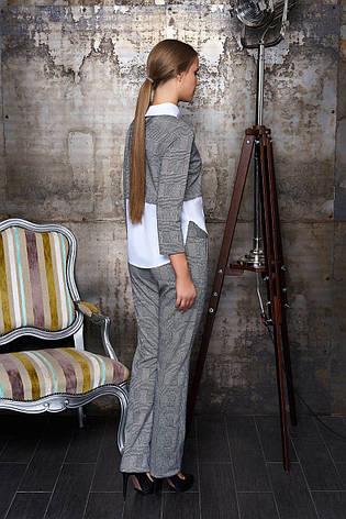 """Деловой женский брючный костюм в клетку с оригинальной блузкой """"Евдокия"""" (клетка бежевый), фото 2"""