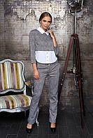 """Деловой женский брючный костюм в клетку с оригинальной блузкой """"Евдокия"""" (клетка красный)"""