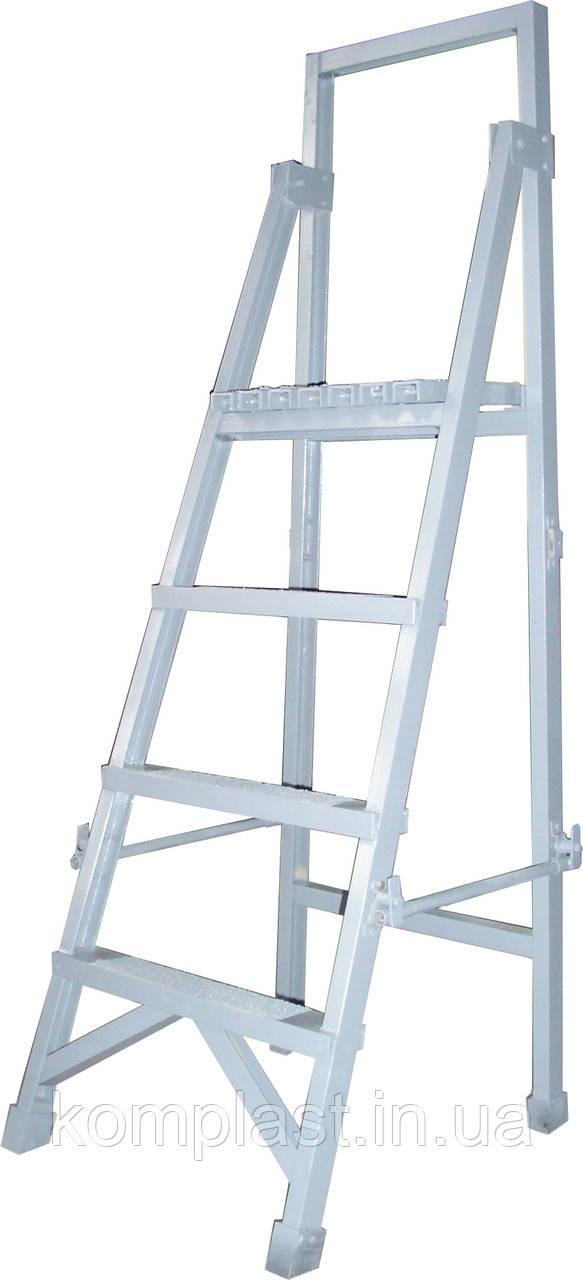 Лестница стремянка диэлектрическая с вертикальной опорой 1,5м Телеком