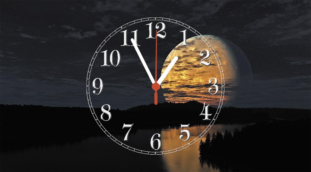 """Годинники настінні скляні """"Місяць над річкою"""""""