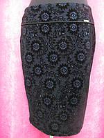 Теплая юбка приталенного кроя, высокая посадка, с напылением, р.54 код 5506М
