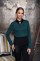 """Эффектная женская нарядная блузка с шифоновыми вставками и воротником """"Лючия"""" (зелёный)"""