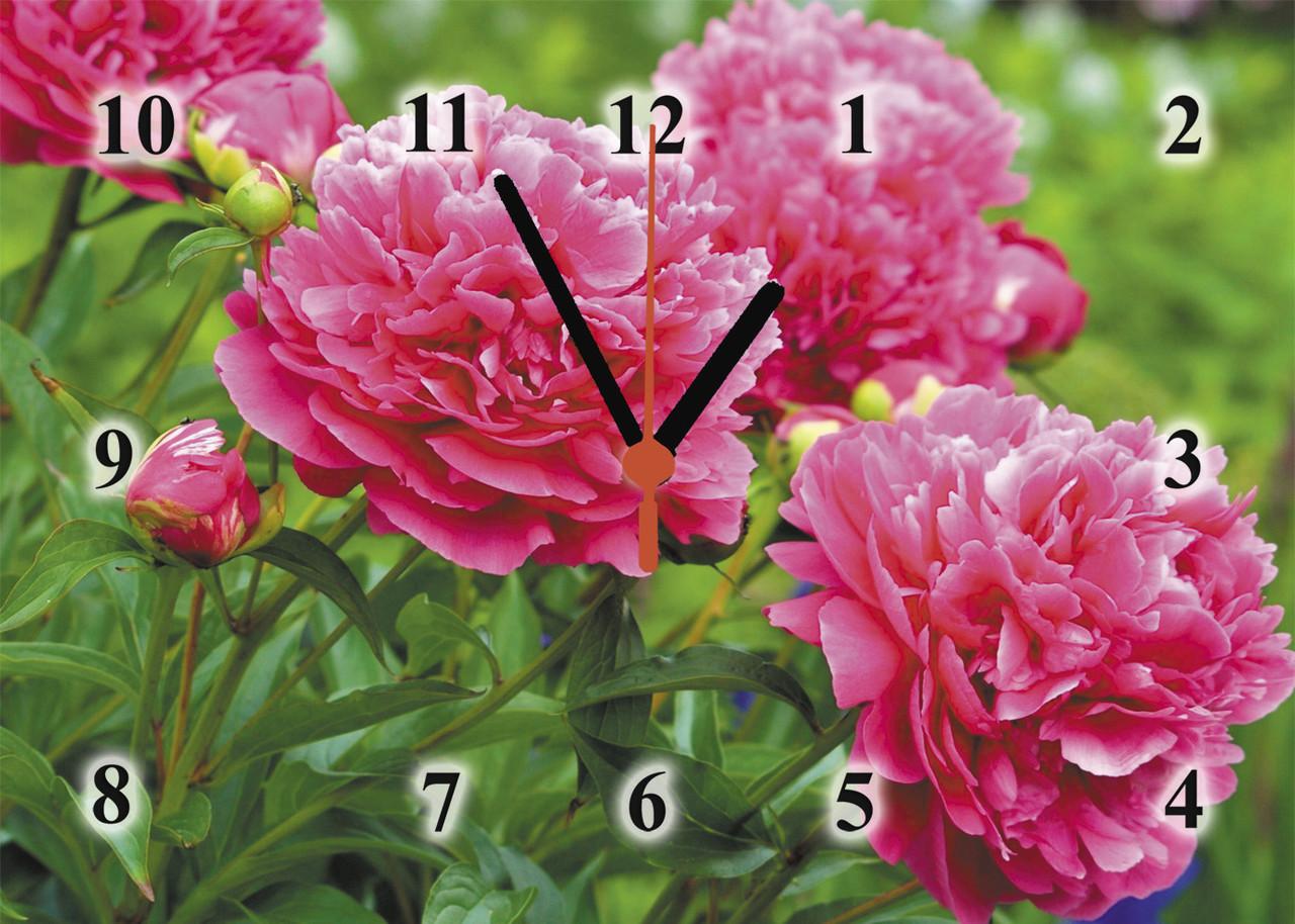 """Годинники настінні скляні """"Рожеві півонії"""""""