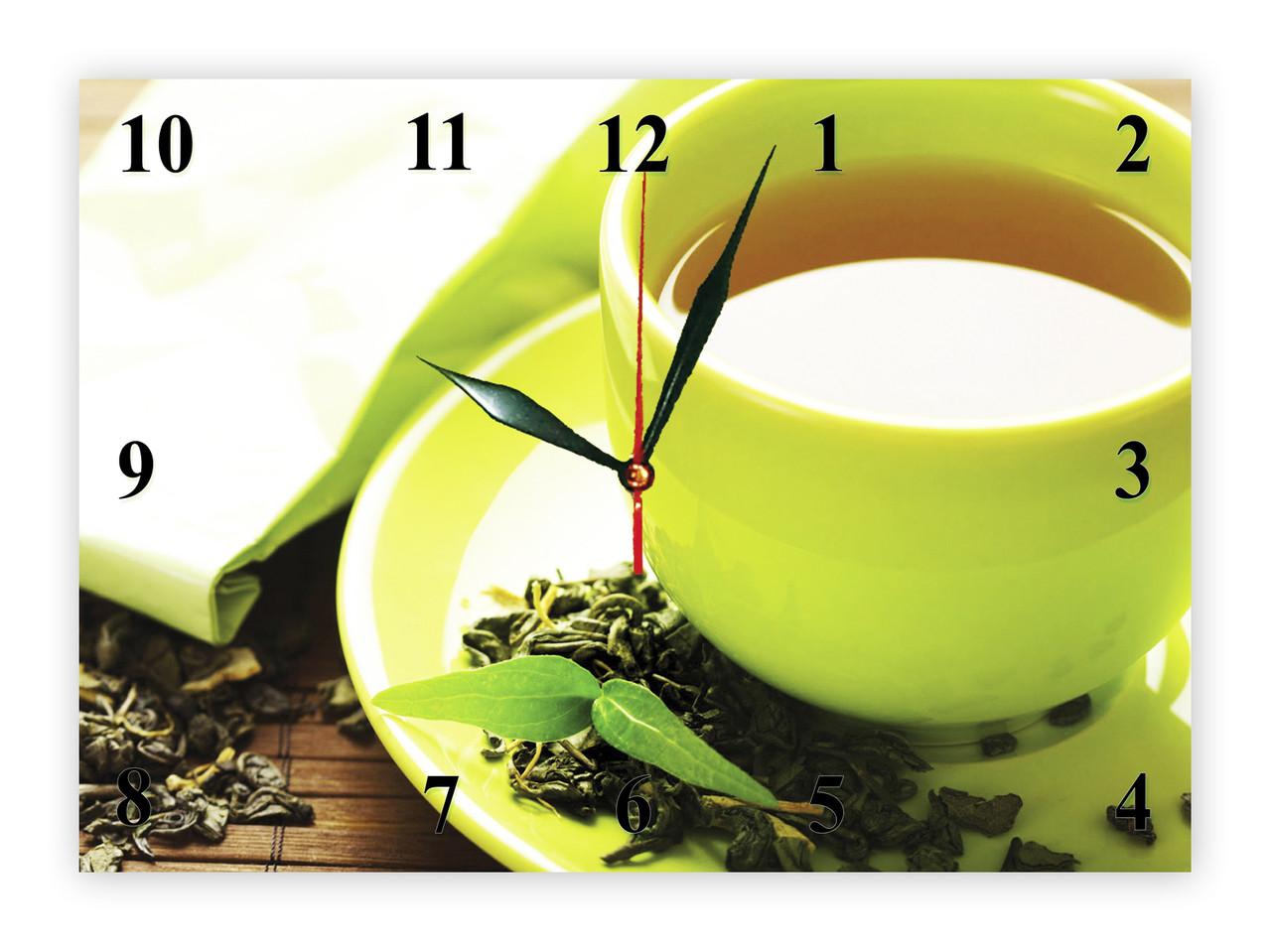 """Часы настенные из стекла  """"Зеленый чай"""""""