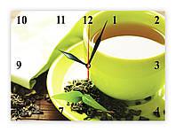 """Часы настенные из стекла  """"Зеленый чай"""", фото 1"""
