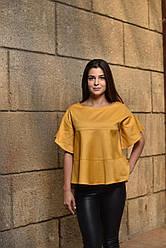 """Блуза женская горчичная """"Элегия"""", дизайнерская модная одежда, Likey, Украина"""