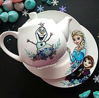 """Набор фарфоровой посуды с ручной росписью по мотивам мультфильма """"Холодное сердце"""""""