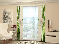 Панельная штора Бамбук и белая орхидея
