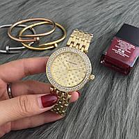 Женские часы Michael Kors MK Grid со стразами на циферблате золотистые