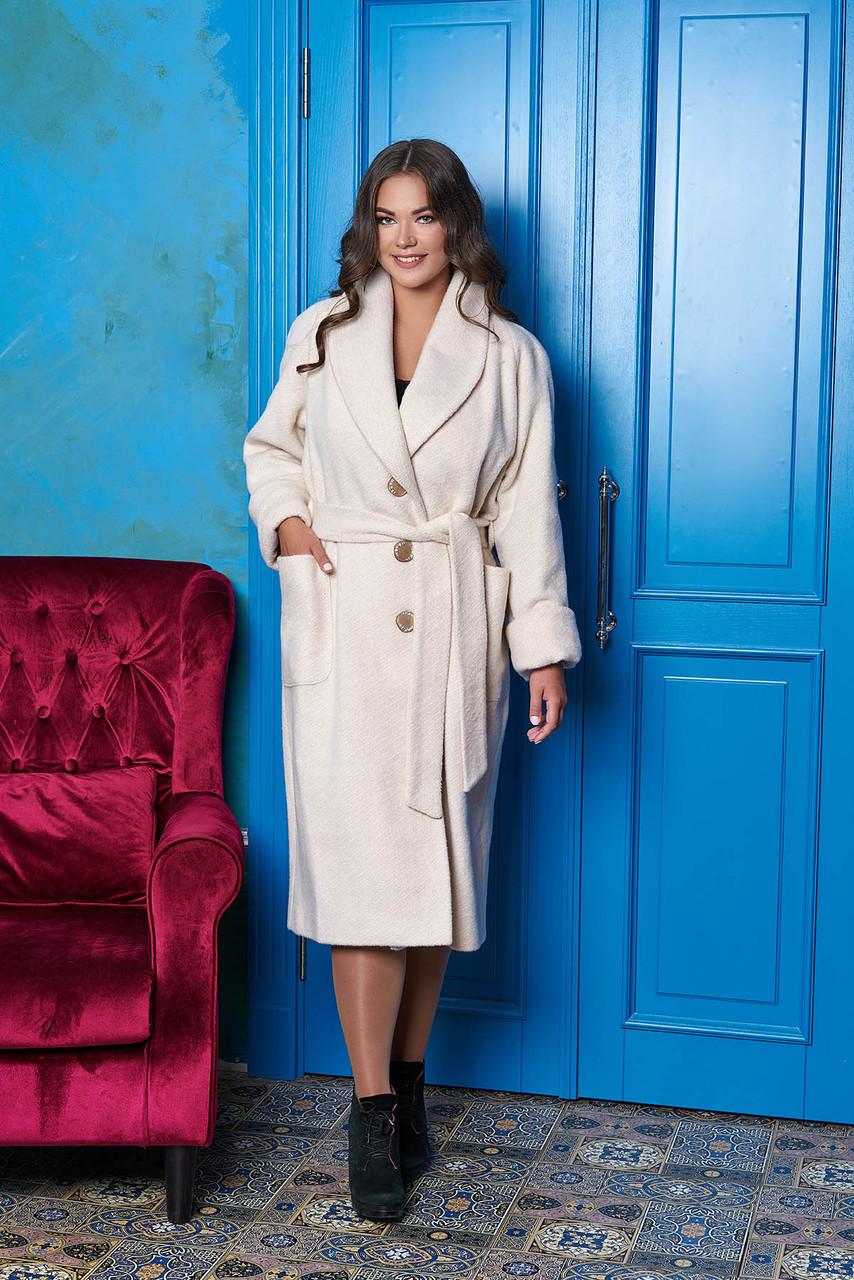 """Світле зимове жіноче пальто з вовни великі розміри """"Р-22"""" (світлий беж)"""