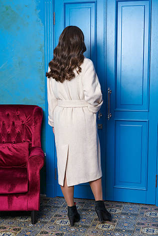"""Светлое зимнее женское пальто из шерсти большие размеры """"Р-22"""" (светлый беж), фото 2"""