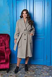 """Зимнее женское шерстяное пальто большие размеры """"Р-22"""" (бежевый принт ёлочка)"""