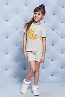 Пижама для девочки с шортами беж