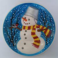 Снеговик - декоративная тарелка с объёмным изображением, керамика