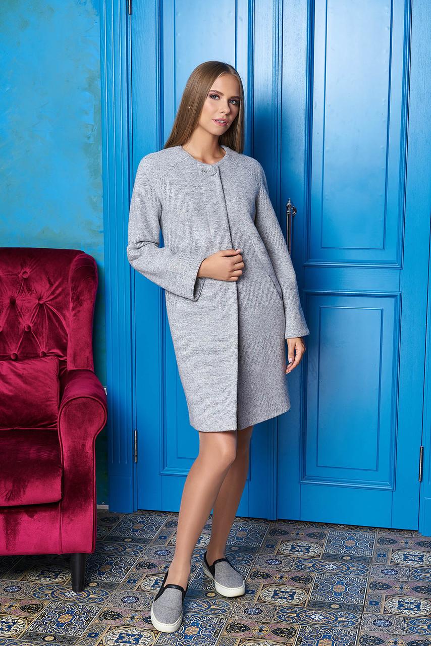 """Світле коротке жіноче пальто з вовни """"Р-2"""" (св. сірий)"""