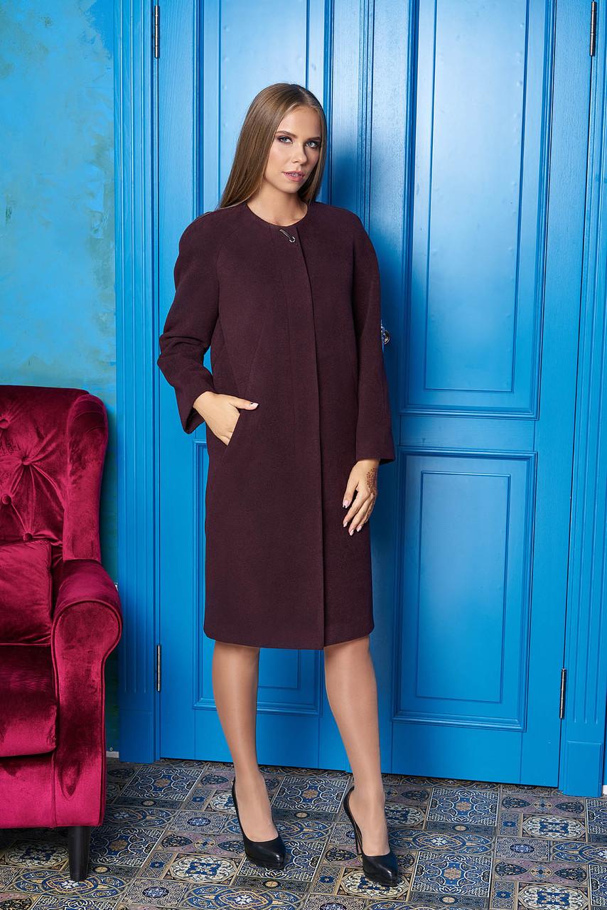 """Жіноче демісезонне пальто середньої довжини """"Р-2"""" (марсал)"""