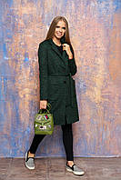 """Женское демисезонное пальто с карманами, поясом и отложным воротником """"Диор"""" (зелёный)"""