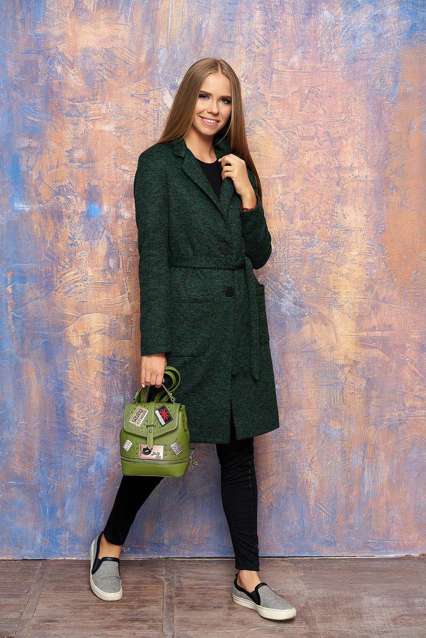 Женское демисезонное пальто с карманами, поясом и отложным воротником  (зелёный)