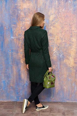 Женское демисезонное пальто с карманами, поясом и отложным воротником  (зелёный), фото 2