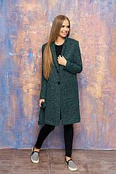 Женское демисезонное пальто с карманами, поясом и отложным воротником (минт)