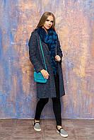 """Женское демисезонное пальто с карманами, поясом и отложным воротником """"Диор"""" (синий)"""