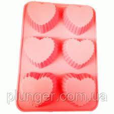 Силіконова форма для випічки Серця, 6 шт на планшеті