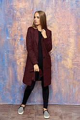Женское демисезонное пальто с карманами, поясом и отложным воротником (красный)