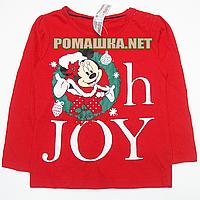 Детский реглан (футболка с длинным рукавом) р. 92 для девочки ткань 100% хлопок 1159 Красный