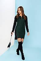 """Стильное асимметричное платье с длинным рукавом и молнией на декольте """"Гайя"""" (зелёный)"""
