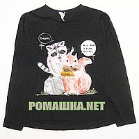 Детский реглан (футболка с длинным рукавом) р. 116 для девочки ткань 100% хлопок 1158 Черный