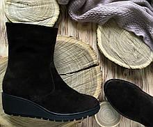 Женские ботинки на танкетке, натуральная замша