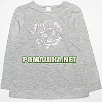 Детский реглан (футболка с длинным рукавом) р. 92 для девочки ткань 100% хлопок 1160 Серый