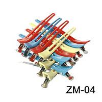 Зажим комбинированный цветной  для волос 12 шт ZM-04