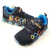 Детские светящиеся кроссовки миньон с led подсветкой синие 28р.
