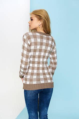 """Молодежный женский вязаный свитер """"Клетка"""" (коричневый), фото 2"""