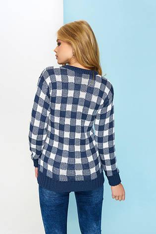 """Модний жіночий в'язаний светр """"Клітка"""" (синій), фото 2"""