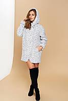 """Светлое короткое женское пальто с воротником-капюшоном """"Р-21"""" (шерсть-меланж)"""