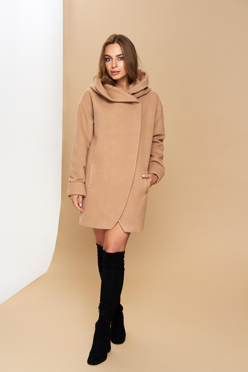 """Жіноче кашемірове пальто з коміром-капюшоном """"Р-21"""" (кашемір-бежевий)"""
