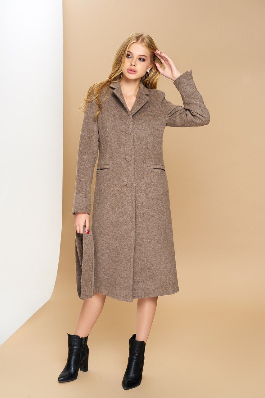 """Довге класичне жіноче пальто з поясом """"Р-1"""" (італійський кашемір - капучіно)"""