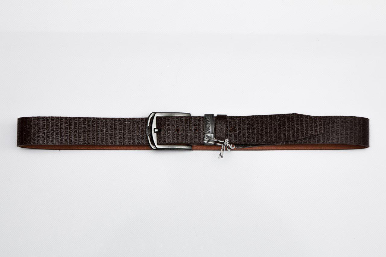 Мужской кожаный ремень армани (Giorgio Armani), черный