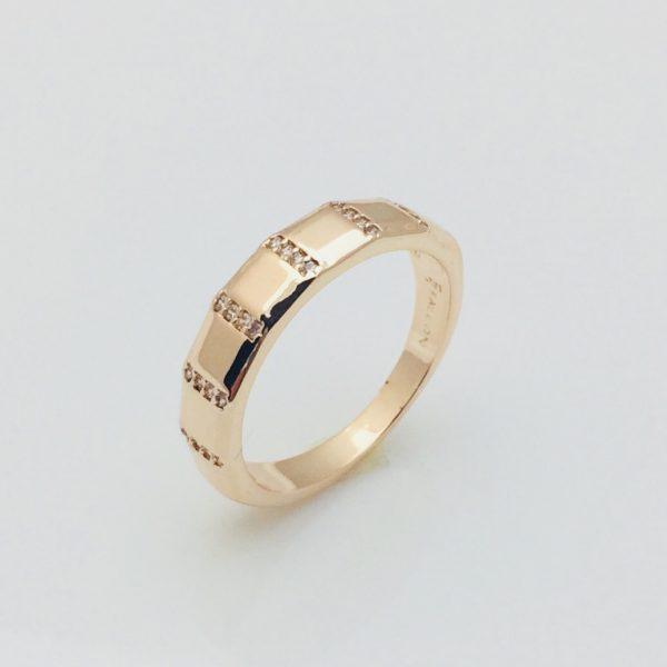 Кольцо Ступеньки, размер 17, 19, 20 позолота 18К Fallon