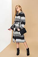 """Длинное модное женское пальто с поясом """"Р-1"""" (итальянская шерсть-полоса)"""