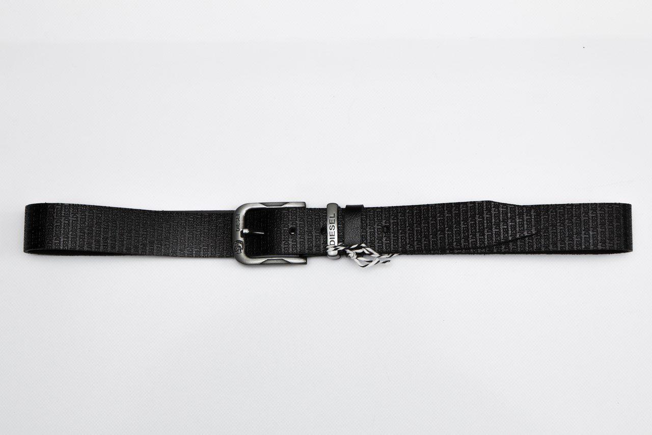 Мужской кожаный ремень дизель (Diesel), черный