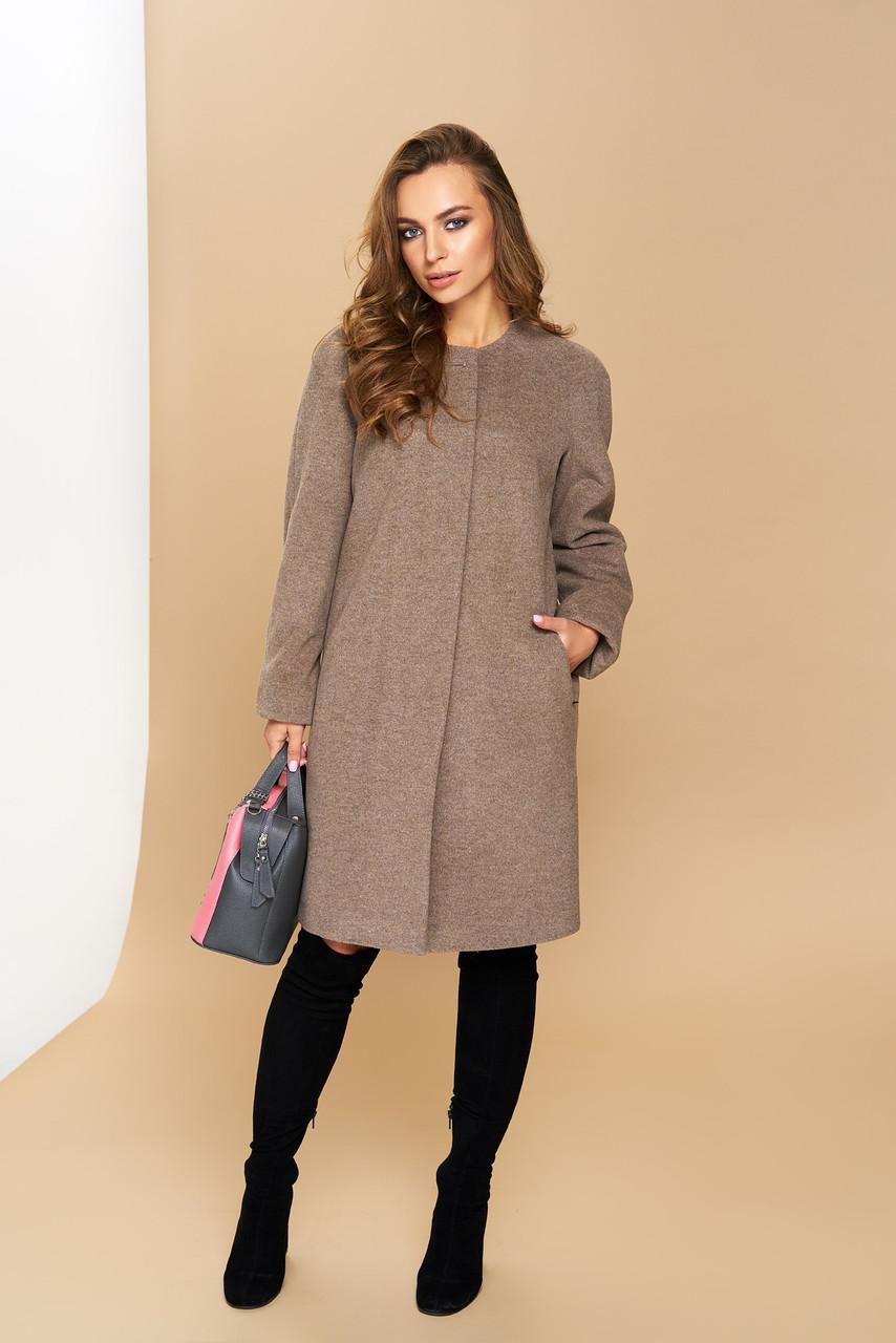 """Жіноче пряме пальто """"Р-2"""" (італійський кашемір-капучіно)"""