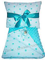 Постельное в коляску и в кроватку для новорожденных Мятный звездопад