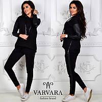 9499853e03f7c6 Женский спортивный костюм штаны с лампасами кофта батник с кожаными  вставками чёрный