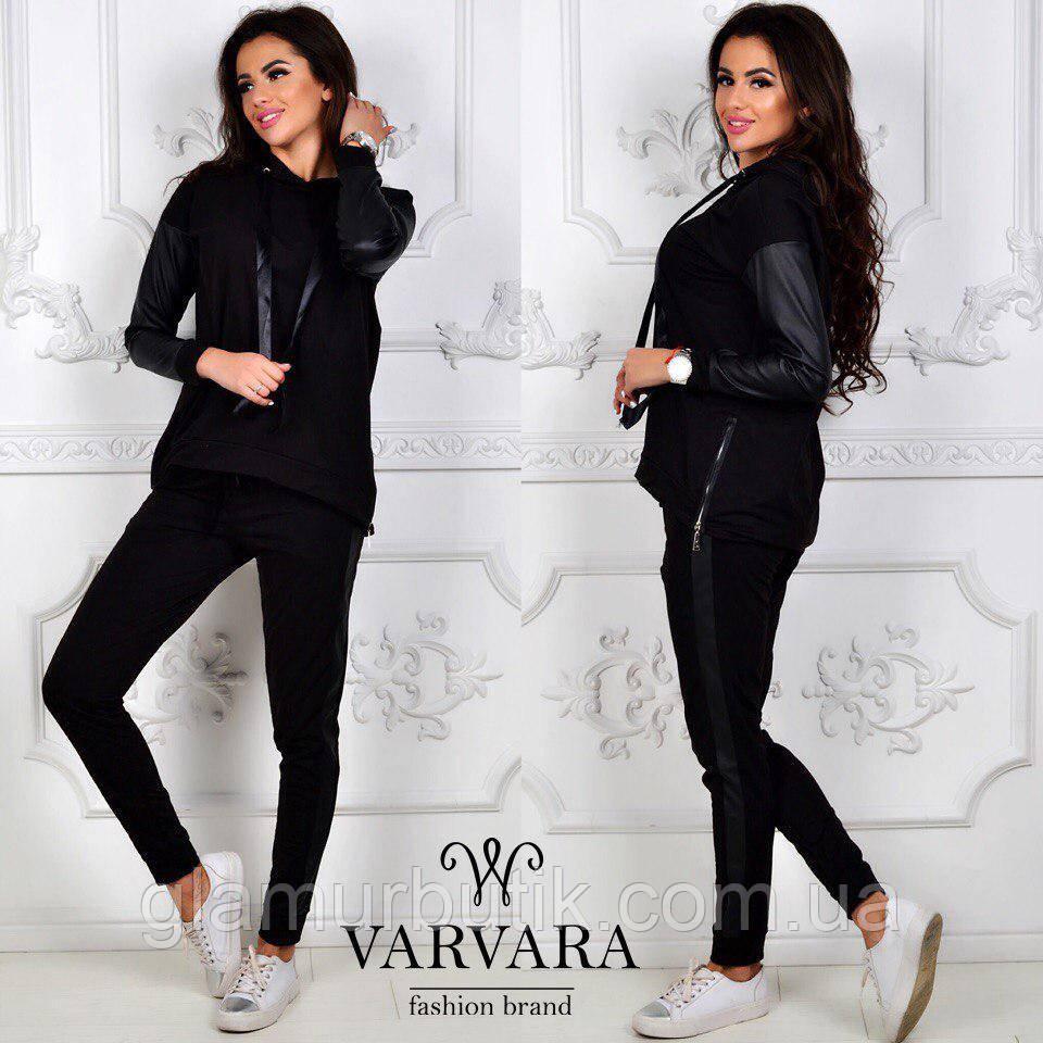 16e36209 Женский спортивный костюм штаны с лампасами кофта батник с кожаными  вставками чёрный - GlamurButik - женская