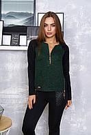 """Женская асимметричная кофта реглан с длинным рукавом и молниями """"Трини"""" (зелёный)"""