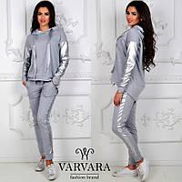 9dc686ac3c1781 Женский спортивный костюм штаны с лампасами кофта батник с кожаными  вставками серый